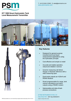 ICT 1000 Smart Hydrostatic Tank Level Measurement Transmitter Datasheet - PDF
