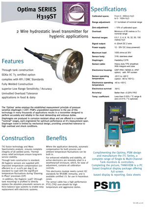 Optima SERIES H319ST Datasheet - PDF